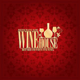Wine house Vintage design card Royalty Free Stock Images
