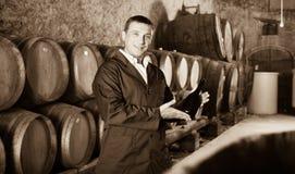 Wine house worker holding bottle near shelves Royalty Free Stock Photography