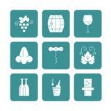 Wine Icon Collection Stock Photo