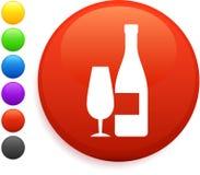 Wine icon on round internet button Stock Photos