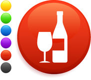 Wine icon on round internet button Stock Images