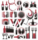 Wine icon set. Set of wine icons, symbols, signs, logo designs and design elements Royalty Free Stock Images