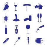 Wine icon set eps10. Blue wine icon set eps10 Stock Images