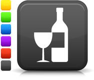 Wine icon on square internet button Stock Photos