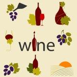 Wine icons. Vector set of wine icons Stock Photo