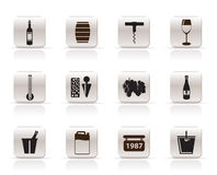 Wine Icons. Wineр bottle, glass Icons - Vector Icon Set Royalty Free Stock Photo