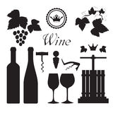 Wine icons collection black Royalty Free Stock Image
