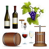 Wine icons collection flat Royalty Free Stock Image