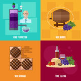 Wine icons in flat style. Wine production, storage and tasting. Banner with  images of wine bottles, grapes, barrels, equipment, shelving for storage Royalty Free Stock Images