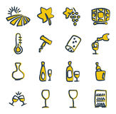 Wine Icons Freehand 2 color Royalty Free Stock Photography