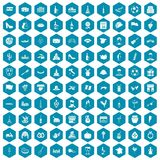 100 wine icons sapphirine violet. 100 wine icons set in sapphirine hexagon isolated vector illustration Royalty Free Stock Image