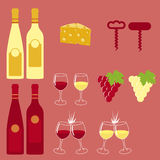Wine Icons set. Ready for wine list or wineries brochures and leaflets. Vector format Stock Images