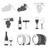 Wine icons set Stock Photos