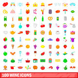 100 wine icons set, cartoon style. 100 wine icons set in cartoon style for any design vector illustration royalty free illustration