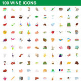 100 wine icons set, cartoon style. 100 wine icons set in cartoon style for any design vector illustration stock illustration