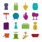 Wine icons doodle set Royalty Free Stock Photography