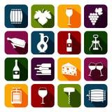 Wine icons set flat Stock Photo