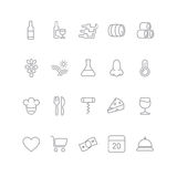 Wine icons set - glass, bottle, restaurant Royalty Free Stock Photos