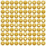 100 wine icons set gold. 100 wine icons set in gold circle isolated on white vector illustration Royalty Free Illustration