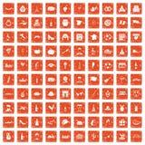 100 wine icons set grunge orange. 100 wine icons set in grunge style orange color  on white background vector illustration Royalty Free Stock Photography