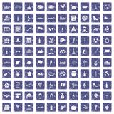 100 wine icons set grunge sapphire. 100 wine icons set in grunge style sapphire color isolated on white background vector illustration Stock Image