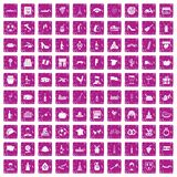 100 wine icons set grunge pink. 100 wine icons set in grunge style pink color isolated on white background vector illustration Royalty Free Stock Photos