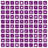 100 wine icons set grunge purple. 100 wine icons set in grunge style purple color isolated on white background vector illustration royalty free illustration