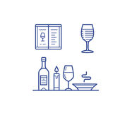 Wine icons set. Wine illustration and icon set. Testing and drinking wine vector illustration for badge or logo Stock Photography