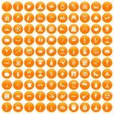 100 wine icons set orange. 100 wine icons set in orange circle isolated on white vector illustration Stock Illustration