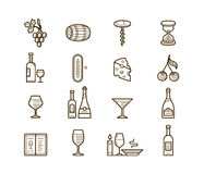 Wine icons set. Procurement and storage wine. Wine cellar rotation and tasting. Vector icons for wine labels Stock Photos