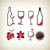 Wine icons. Set of 8 wine icons in red retro theme Royalty Free Stock Photography