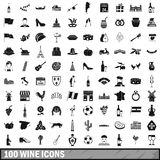 100 wine icons set, simple style. 100 wine icons set in simple style for any design vector illustration Royalty Free Stock Photography