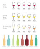 Wine icons set, wine bottles and glasses for wine. Stock Photo