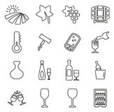 Wine Icons Thin Line Vector Illustration Set. This image is a vector illustration and can be scaled to any size without loss of resolution Royalty Free Stock Images