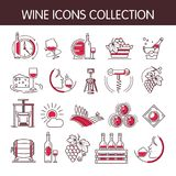 Wine icons vector collection set for winemaking or winery production industry. Wine icons vector collection set for winemaking or wine productions industry stock illustration