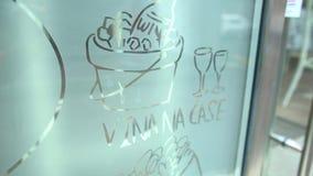 Wine illustration- cafe decoration stock footage