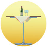 Wine - Illustration. Table  on which there is a bottle of wine and wine glasses Royalty Free Stock Photography