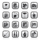 Wine industry objects icons Royalty Free Stock Images