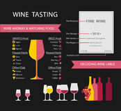 Wine. Infographics with food pairing, bottle and glass type,  types and colours royalty free illustration