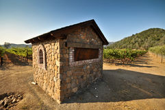 A wine irrigation house in a wine field Royalty Free Stock Photo