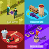 Wine Isometric Design Concept. Isometric wine production design concept with colorful square compositions of grape gathering in vineyard and warehouse vector Stock Photo