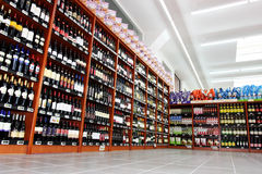 Wine italian store shelves. Shelving, spirits shop Stock Image