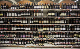 Wine italian store shelves. Shelving, shop Royalty Free Stock Photography