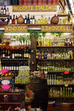 Wine italian store. Italian products, limoncello and wine doc. Royalty Free Stock Photo