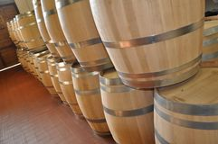 Wine in Italy oak barrels royalty free stock image