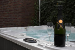 Wine and jacuzzi Stock Photos