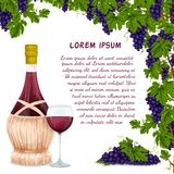 Wine jar and grape bunch background Stock Image