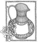 Wine jar with grape woodcut Royalty Free Stock Photos