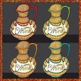 Wine jars color woodcut Stock Photography