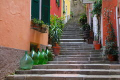 Wine Jars and Steps, Cinque Terre, Italy Stock Photography